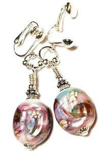 Long Pink Purple Silver Millefiori Clip-On Earrings Glass Bead Drop Dangle Boho