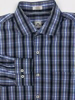 PETER MILLAR Men's Large Blue Check Seaside Finish L/S Button Front Casual Shirt