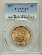 1907 US Gold $10 Indian Head Eagle - No Motto - PCGS MS62