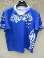 Maillot rugby bleu FFR FRANCE fédération porté n°22 moulant shirt XL