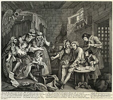 Hogarth Print Reproduction: A Rake's Progress: Prison, Plate 7: Fine Art Print