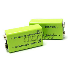 2 9V 9 Volt 450mAh Ni-MH 6F22 PP3 Rechargeable Battery Cell Block