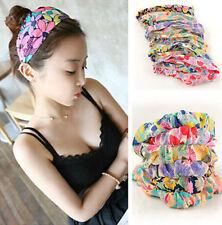 Womens Flower Chiffon Turban Twist Head Wrap Headband Twisted Knotted Hair Band