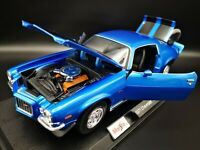 Maisto 1:18 Scale Chevrolet Camaro 1971 metalic blue Diecast Model Car SEE VIDEO