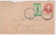 (K80-3) 1936 NZ FDC 1d PSE +1/2d ANZAC stamp (space filler) used(C)