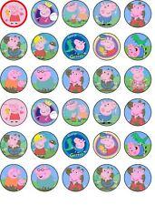 Peppa Pig 30 x 3.5cm Edible WAFER Cupcake Toppers PRE-CUT