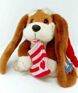 Basset hound Plush Vintage By Applause christmas htf
