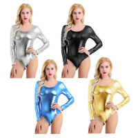 Womens Ladies Long Sleeve Metallic Bodysuit Top Leotard Thong Bodycon Dancewear