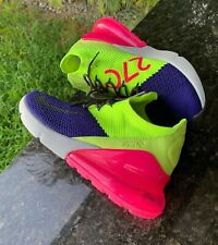 Authentic Nike Air Max 270 Flyknit New Men's Sz 9.5 Blue Pink Green A01023-501