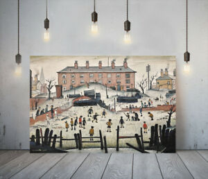 LOWRY STYLE CRICKET MATCH -FRAMED CANVAS WALL ART PICTURE PAPER PRINT- BROWN RED