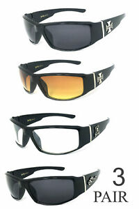 3 PAIR COMBO Chopper Sunglasses Motorcycle Glasses Smoke HD & Clear Lens