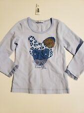 Naartjie size 3 girl fur trim fox tee shirt blue long sleeve new