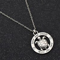 Silver Turtle Pendant Necklace Adjustable Chain Mens Inspirational Jewelry