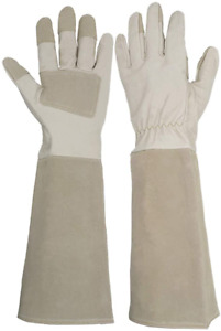Leather Gardening Gloves Long Sleeves Rose Pruning Floral Gauntlet Garden Mitts
