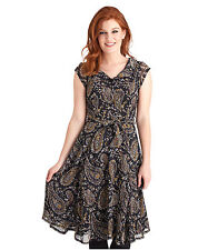 Polyester Knee Length Paisley Dresses for Women