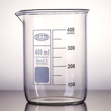 2Pcs 400ml,Glass Beaker Low Form,Made From Borosilicate Glass3.3,My-Glassware
