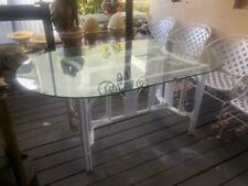 Vintage Rattan Dining  (Table Glass Top) Hand painted