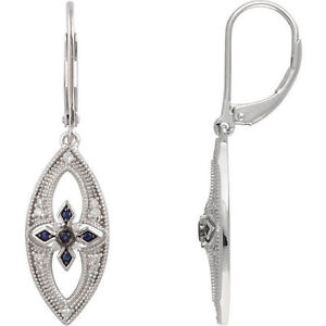 Sapphire & 1/6 ct. tw. Diamond Lever Back Earrings In Sterling Silver