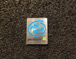 Pentium 3 Logo Emblem Badge brushed aluminum adhesive 24 x 19 mm [037c]