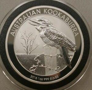 2016 (1 oz) .999 Silver Australian Perth mint Kookaburra Coin in capsule - BU