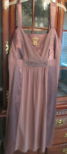 Midnight Velvet Long Plum Sequins Bodice Sleeveless Maxi Gown Dress Lined 18W