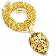 "18k Gold Lion Head Pendant Necklace 30"" Link Chain Hip Hop King Fashion Pharaoh"
