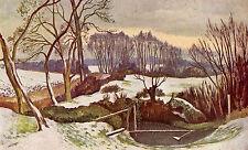 Snow Scene at Meadle Bucks 1930s vintage mounted print STUNNING Nash