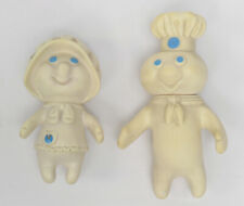 VINTAGE 1971 PILLSBURY DOUGH BOY AND 1972 DOUGH GIRL SOFT RUBBER FIGURES