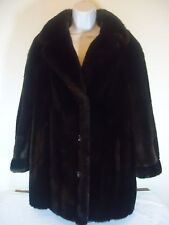 Tissavel Faux Fur Coat Medium Size 14 Women's Dark Brown Colors Country Pacer