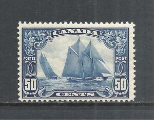 "CANADA SCOTT 158 MLH FINE+ - 1929 50c DARK BLUE ISSUE  ""BLUENOSE""   CAT $225"