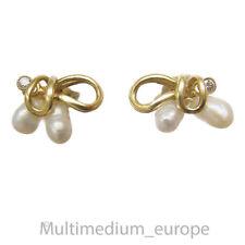 585er Gold Ohrringe Ohrstecker Perlen Diamant diamond earrings pearls 🌺🌺🌺🌺🌺