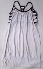 LULULEMON Athletic White Tank Top + Attached Striped Sport Bra Juniors Womens S