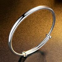 Damen Silber Zircon Einfach Charm Armband Stulpe geöffnetes Armband G Schmu S9I2
