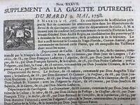 Gazette d'Utrecht 1758 Marine Espagnol Brandenburg Dresden Kulmbach Leipzig
