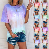 Women Summer Tie-Dye Short Sleeve Loose Crew Neck T-Shirt Casual Blouse Tee Top