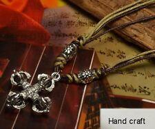 Vajra Dorje Amulet Pendant Necklace Tibetan White Copper Tantric Double Cross