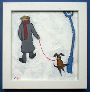 ORIGINAL PAINTING OF A MAN A DOG WALKING HOME IN L. S. LOWRY STYLE
