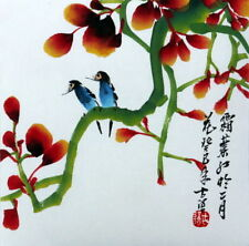 """Chinese small painting birds flowers 6.7x6.7"""" xieyi brush ink feng shui art"""