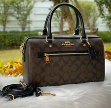 Coach Rowan Satchel in Signature Canvas Black/Brown F83607