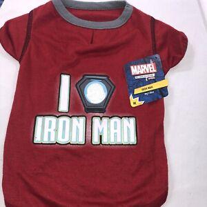 "Marvel Pet Fans Collection - Red Marvel ""I Heart Iron Man"" Dog/Pet T-Shirt Med"