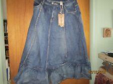 """Artka nwt new Jean skirt 31"""" long 28"""" waist M 4 Pockets sewing machine buttons"""