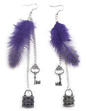 F1841 purple light Feather silver tone chain lock & key love dangle earrings New