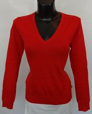 AQUASCUTUM Ladies Fine DAMAS V NECK Jumper Sweater sz XL RED BNWT