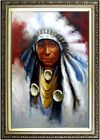 Framed Portrait of a Native American Quality Hand Painted Oil Painting 24x36in