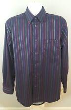 Kenneth Roberts PLATINUM Mens Large Collared Button Down Black Stripe Shirt E