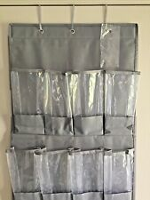 Over the Door Shoe / Organizer - Gray Fabric Back w/ Clear Plastic Compartments