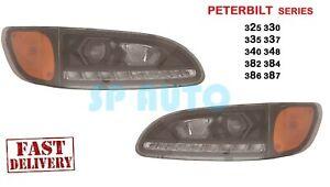 2005-2016 PETERBILT 382 384 Headlights PROJECTOR W/LED DRL BLACK - PAIR