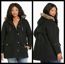 NWT Torrid Plus Size 0X Large Black Faux Fur Hood Wool Coat (WWW)