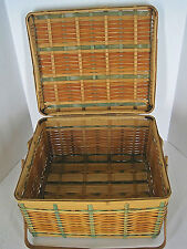 Vintage Woven Wicker Picnic Basket Hinged Lid Double Handles Marked Japan