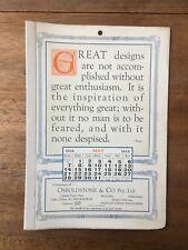 ANTIQUE MAY 1922 CALENDAR OSBOLDSTONE CO MELBOURNE PRINTER VINTAGE CARD